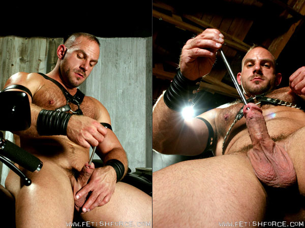 Leather stud Samuel Colt sounds his cock