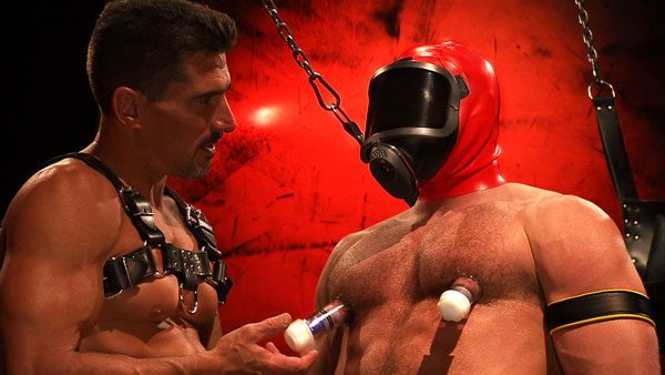 Masked stud fucked, pissed over and sounded by hard leather top