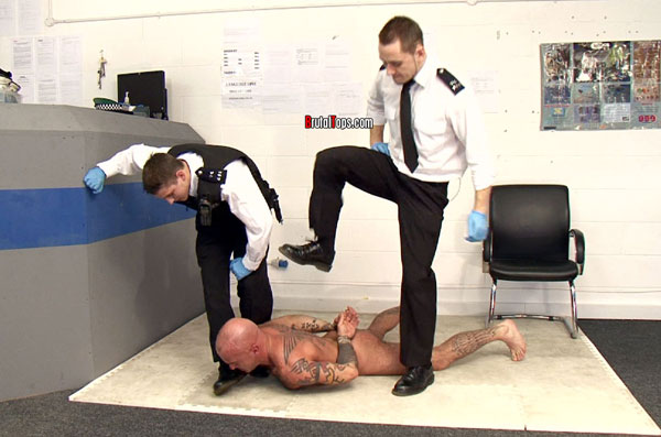 Sleazy gay cops abuse skinhead thug