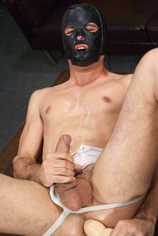 Married guy fucks himself in leather mask