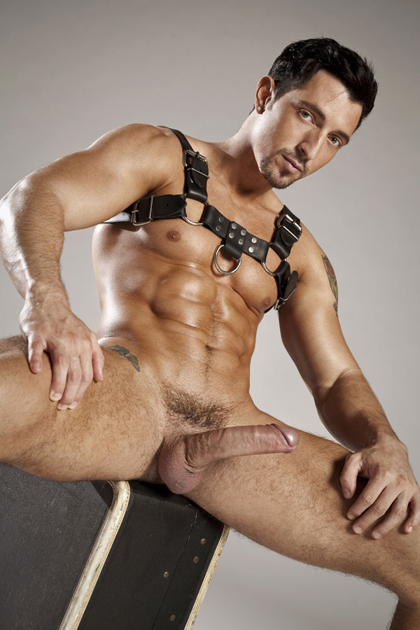 Jimmy Durano in a leather harness