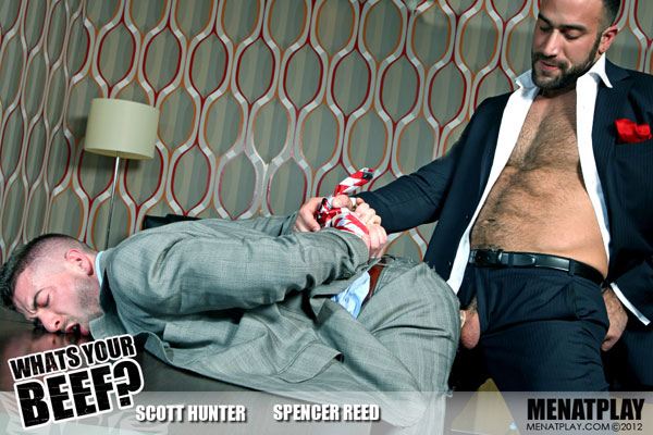 Suited Scott Hunter tied up and fucked