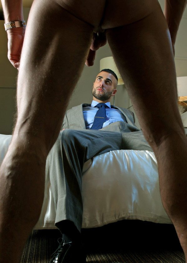 Peeping Tom fucked by suited stranger