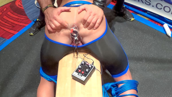 Picture of an electro plug in a muscled bubble butt